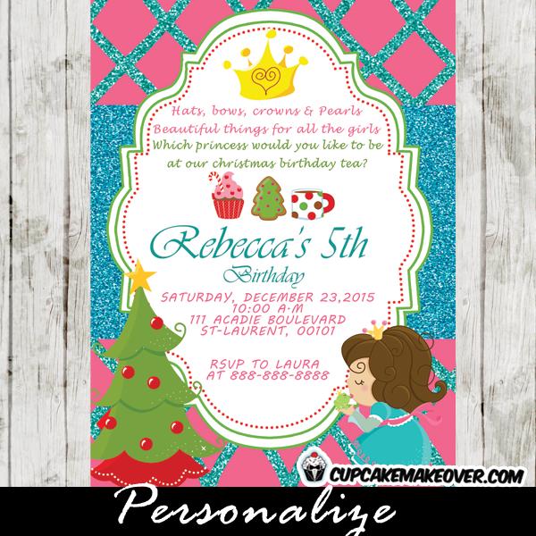 personalized christmas birthday invitation princess tea party