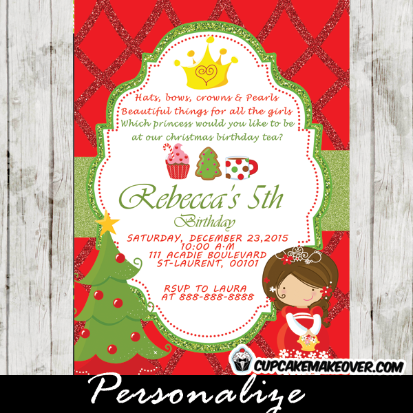 personalized holiday birthday princess tea party invitation