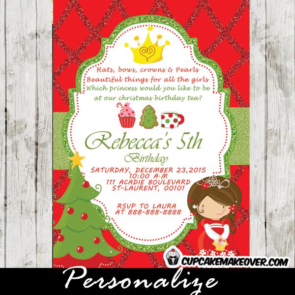 personalized holiday birthday princess tea party invitation