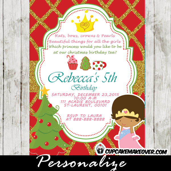 Princess Tea Party Christmas Birthday Invitation Red Gold Glitter