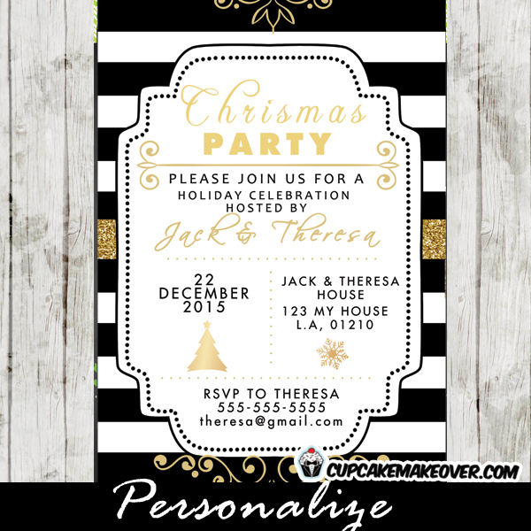 personalized holiday celebration invitation card Christmas party