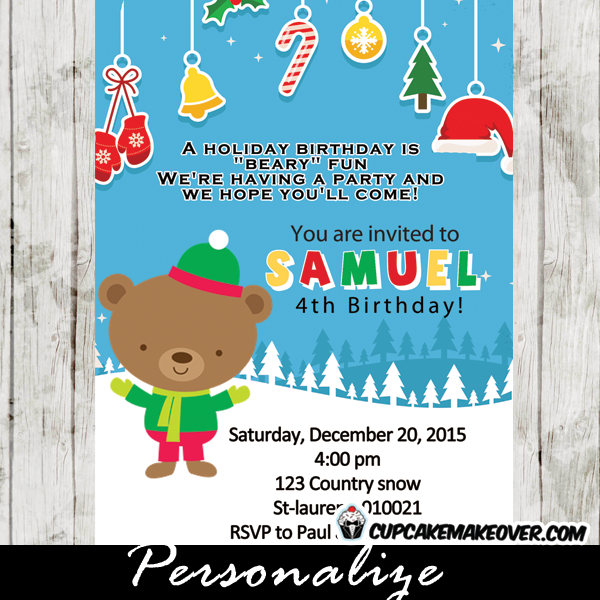 printable holiday birthday little bear invitation card
