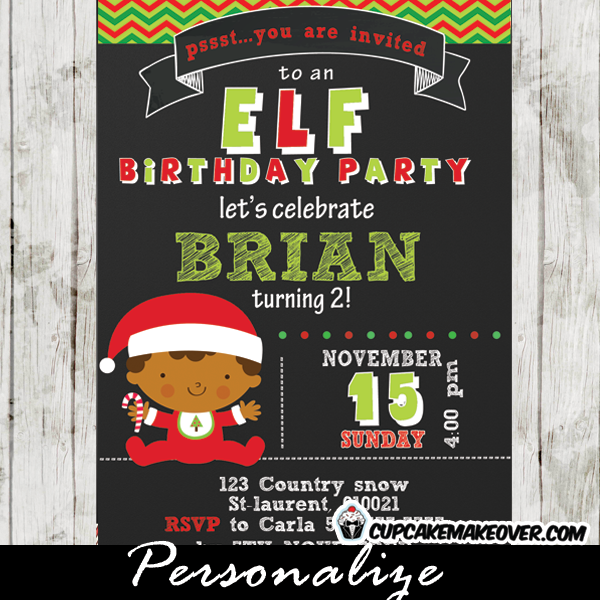 personalized christmas elf boy birthday invitation