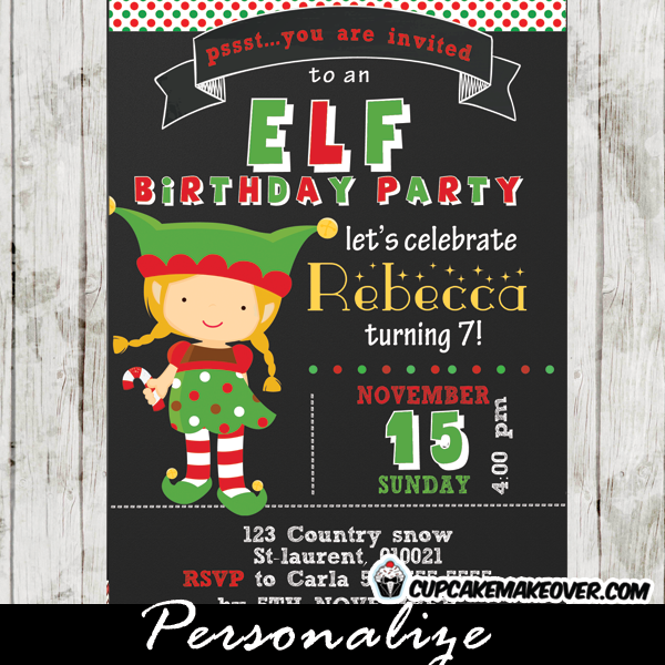 printable christmas elf birthday invitation little girl