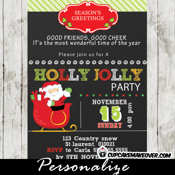 printable santa on a sleigh holly jolly holiday invitation card