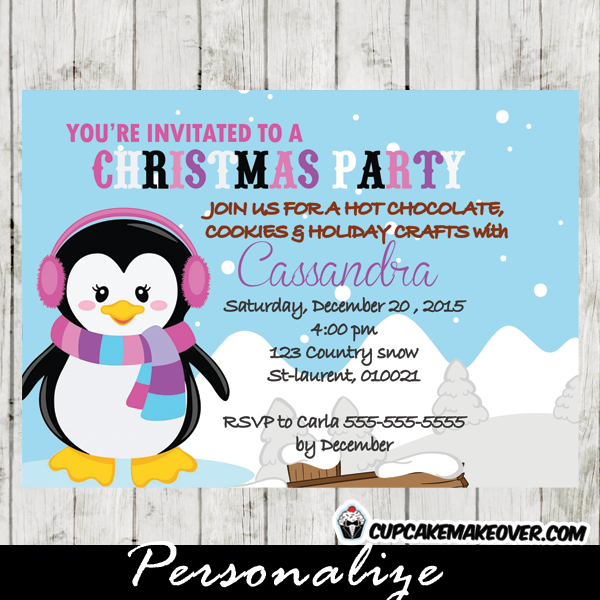 printable winter penguin christmas cookies invitations