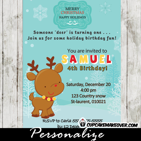 printable holiday reindeer birthday party invitation card