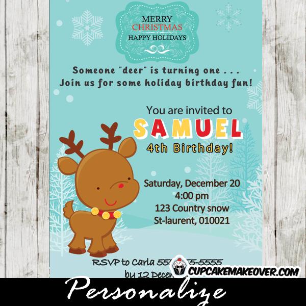 printable holiday reindeer birthday party invitation card