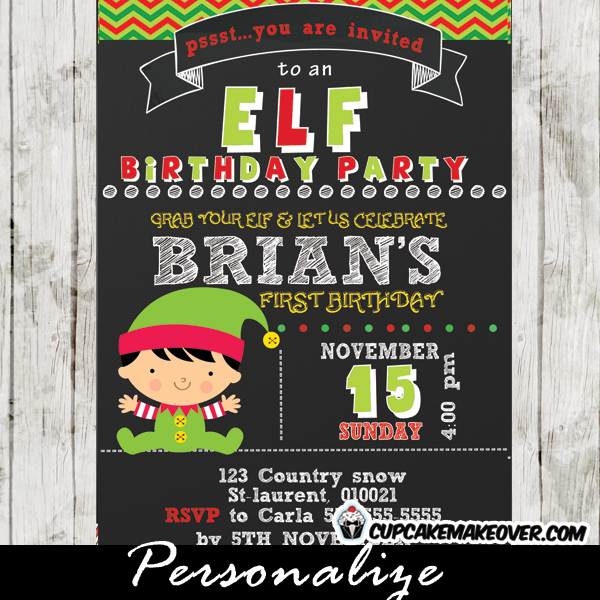 personalized christmas elf birthday invitation little boy