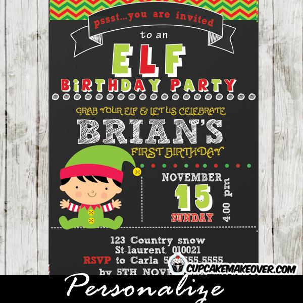 personalized christmas elf birthday invitation little boy