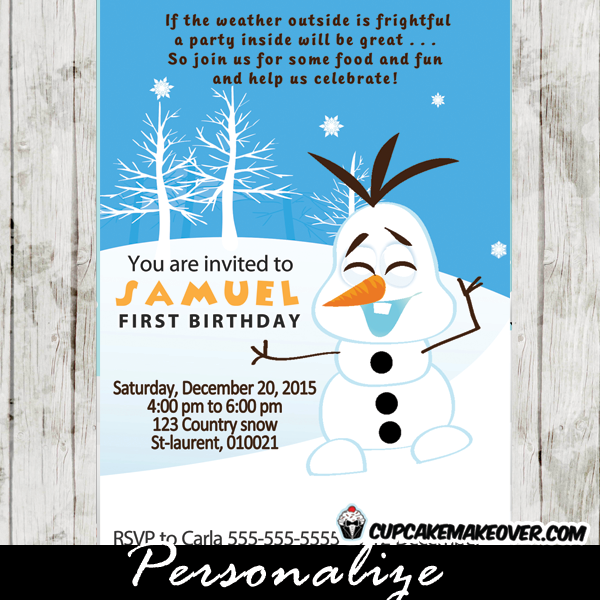 printable snowman olaf first birthday party invitation
