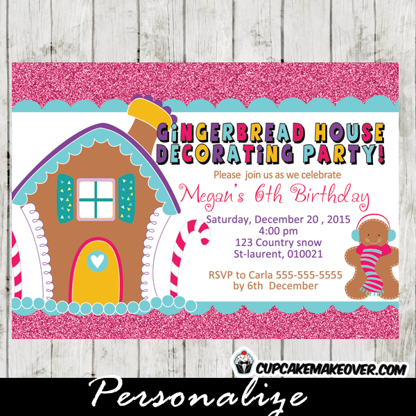 printable gingerbread house decoration party invitation card