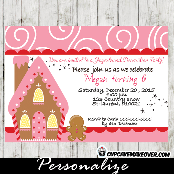 printable gingerbread house decorating party invitation card girls