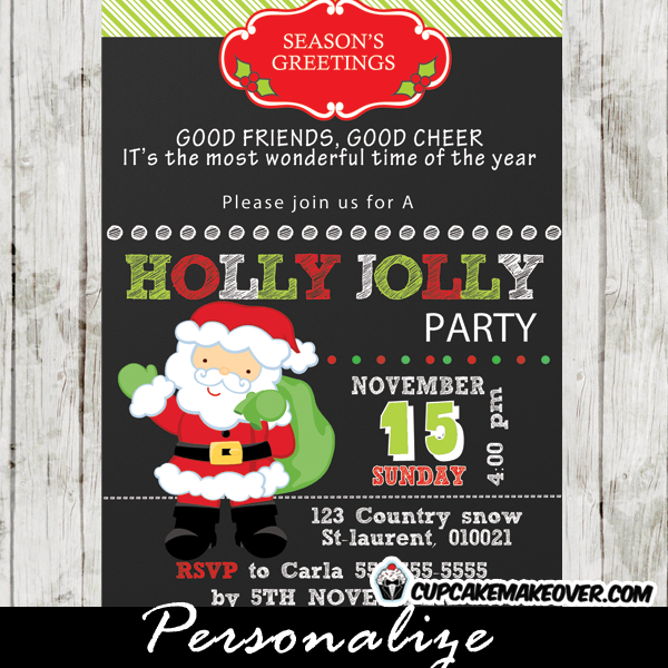 printable santa holly jolly christmas party invitation card