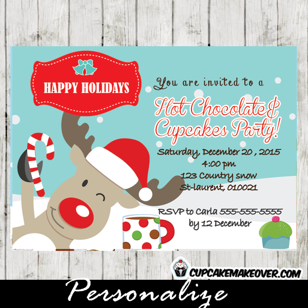 printable christmas reindeer hot chocolate cupcakes invitations