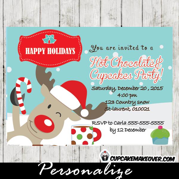 printable christmas reindeer hot chocolate cupcakes invitations