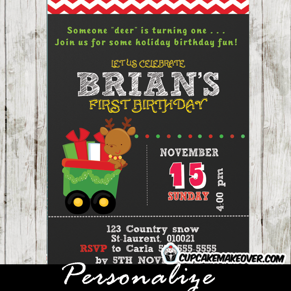 personalized holiday Christmas Reindeer Birthday Invitation card