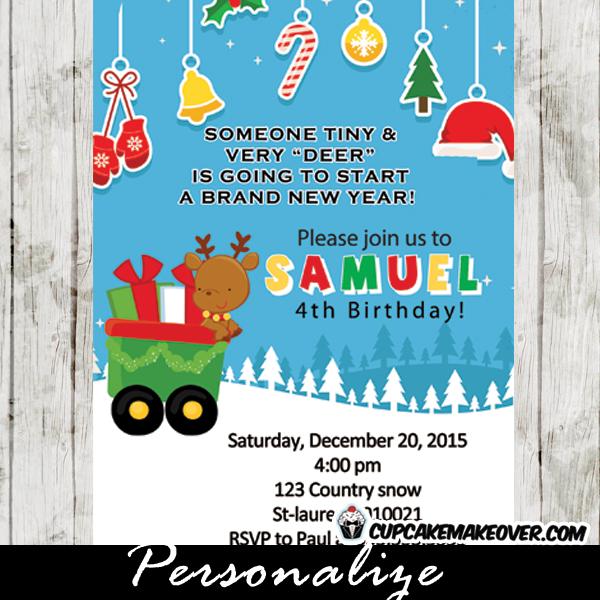printable little deer holiday birthday invitation card