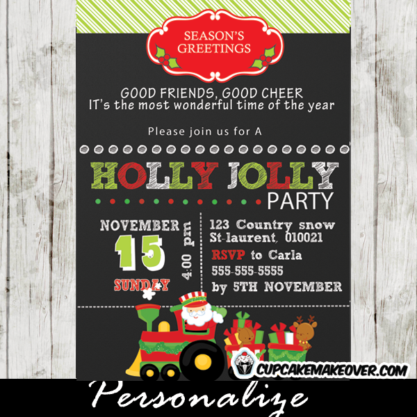 printable holly jolly Christmas party invitation
