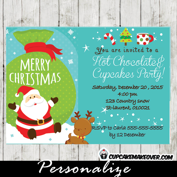 printable merry christmas hot chocolate cupcakes invitations