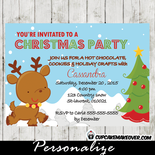cute little deer printable Christmas party celebration invitation