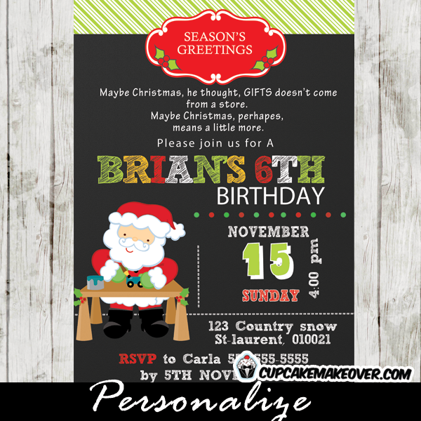 printable christmas Santa birthday invitation card