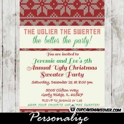 personalized ugly sweaters family christmas party invitations