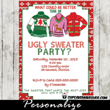 Tacky Sweater Party Invitations & Voting Ballots ...