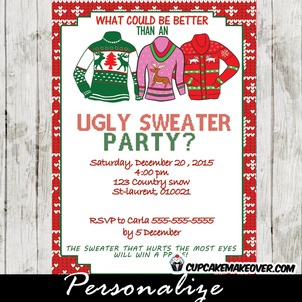 printable ugly sweater christmas party invitation card tacky sweaters