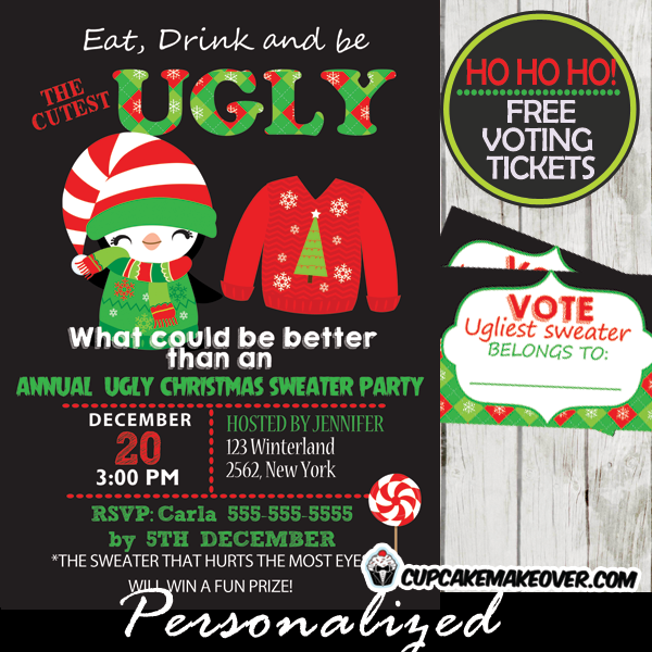 ugly christmas sweater party invitations & voting ballots, Party invitations