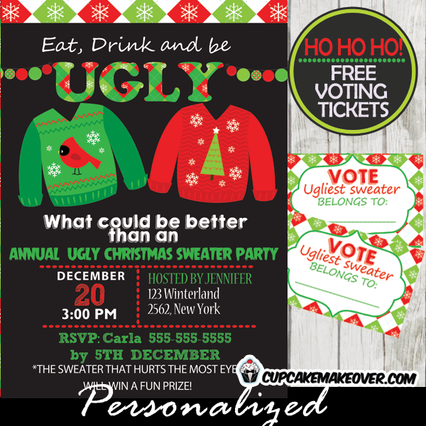 diy chalkboard ugly sweater christmas party invitations online