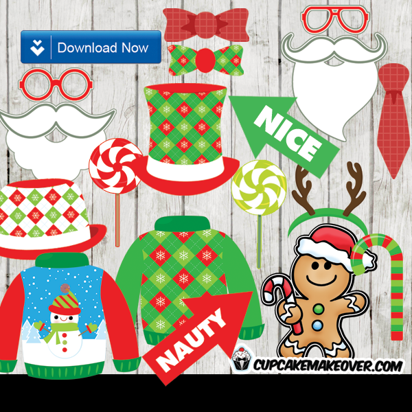 diy printable christmas photo booth props decoration
