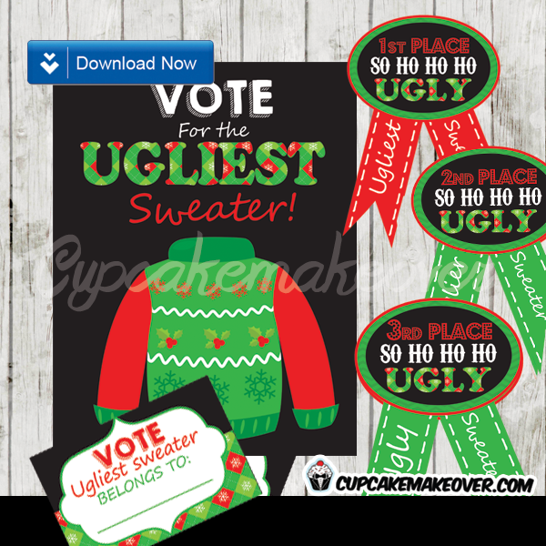 printable ugly sweater awards ballots signs props diy