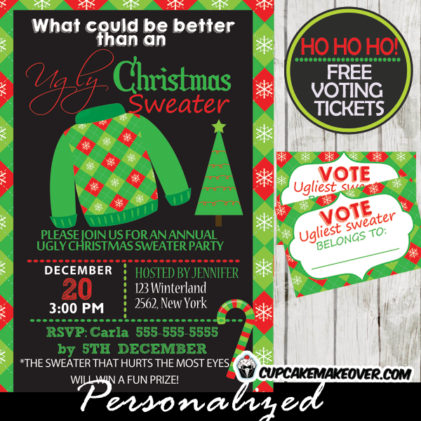Ugly Sweater Party Invitations Voting