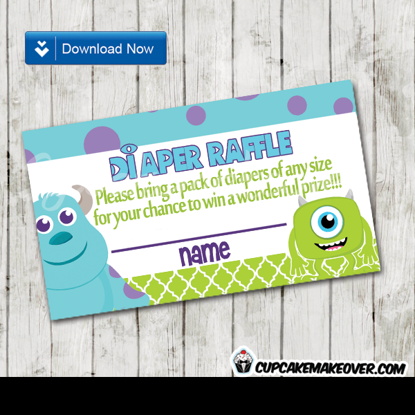 printable cute monsters inc diaper raffle game cards