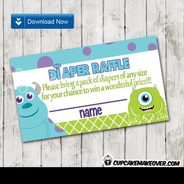 printable cute monsters inc diaper raffle game cards