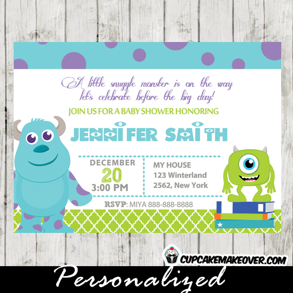 Monsters Inc Baby Shower Invitation Card Personalized D5