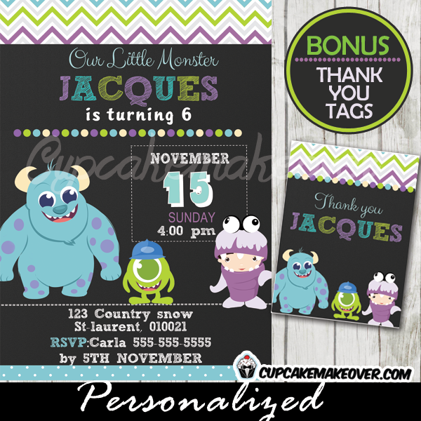 Monsters Inc Birthday Invitation Card Boys Personalized D1