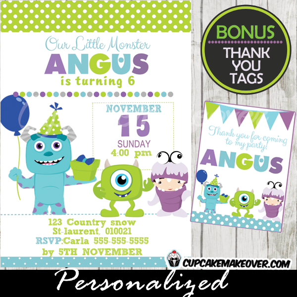 Monsters Inc Birthday Party Invitation