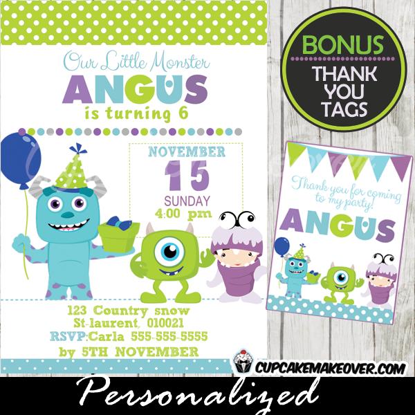 printable monsters inc birthday invitations boys