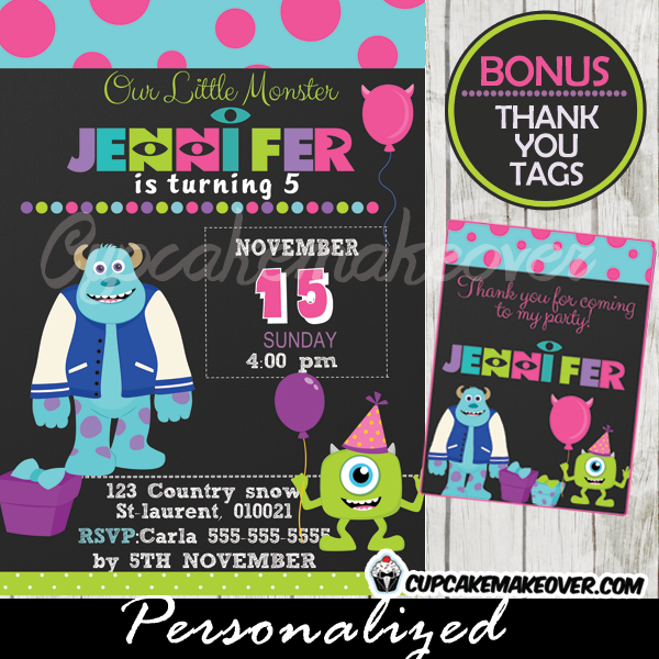 printable girl pink monsters inc party invitations