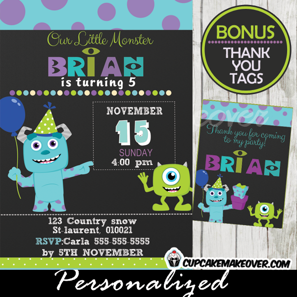 Monsters Inc Party Invitation Card Boys Personalized D4