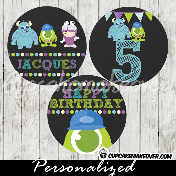 personalized monsters inc favor tags cake toppers