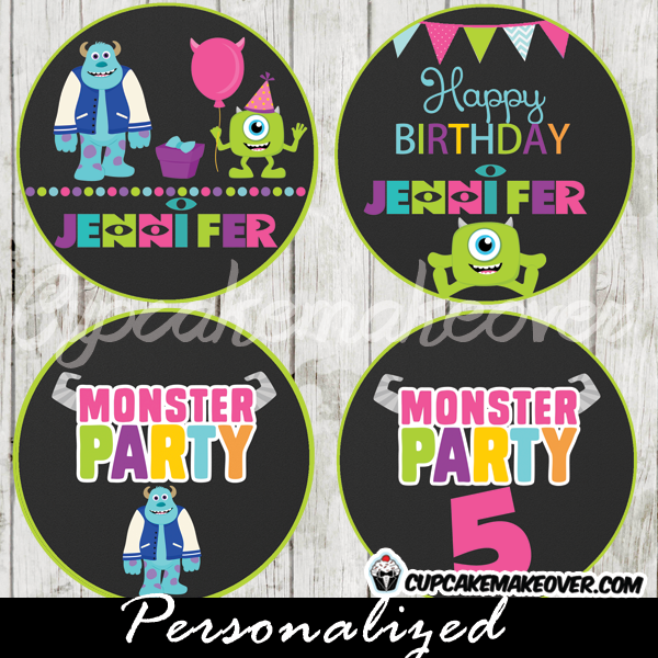 custom monsters inc favor tags, food labels printable cake toppers