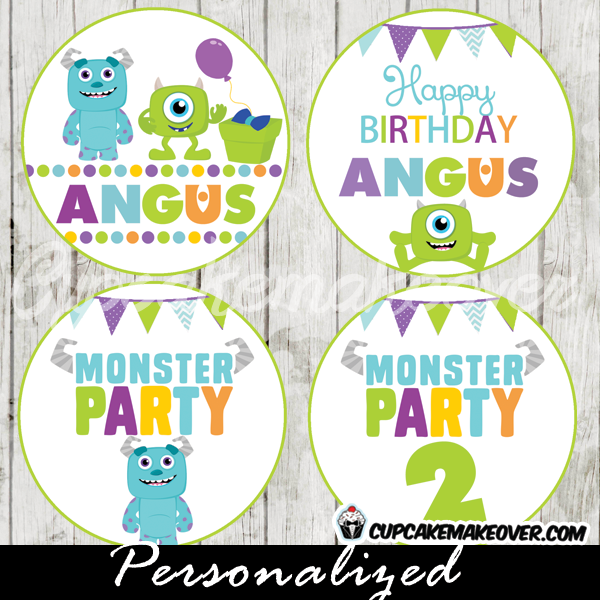personalized monsters inc cupcake toppers gift tags