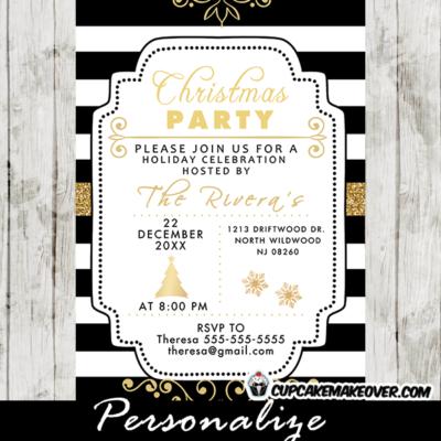 christmas party invitations elegant ideas black white stripes gold
