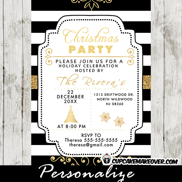 Elegant Holiday Party Invitations Black and White Stripes