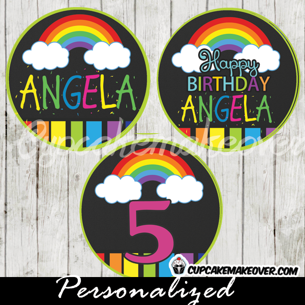 printable rainbow art favor tags personalized cake toppers