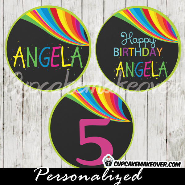 printable rainbow wave party favor tags personalized toppers