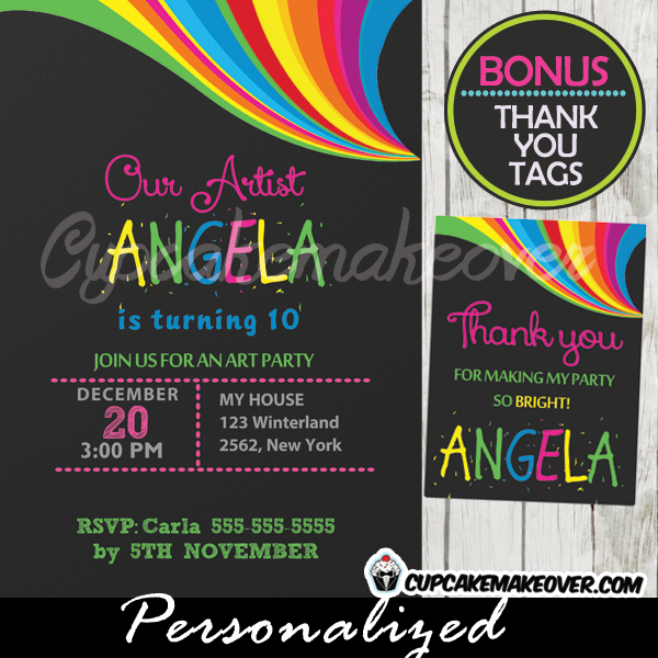 printable rainbow art birthday invitations diy